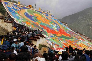 Celebration of Shoton festival in Drepung Monastery in Lhasa, Tibet