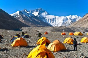 Climbers tents at the Everest Base Camp in Tibet