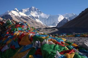 Everest from Tibet side with prayer flags