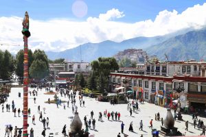 View on Potala Palace from Jokhang Temple in Lhasa, Tibet