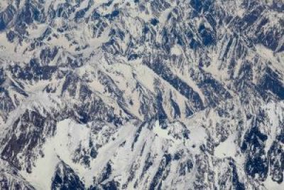 Window view when you fly over the Himalayas to Tibet