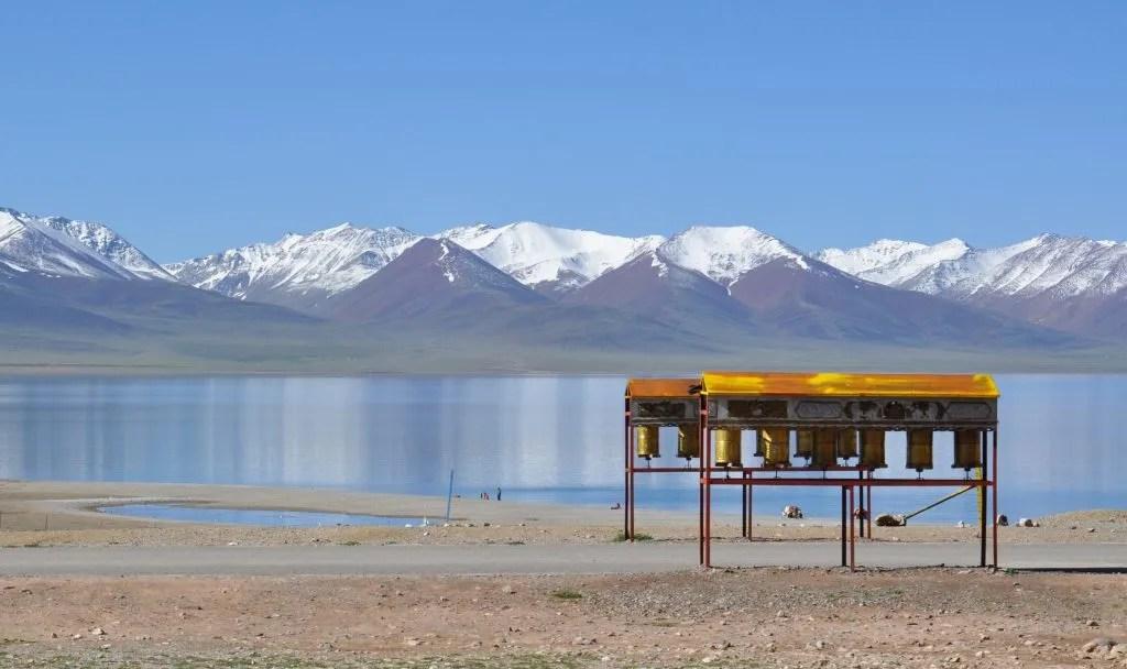Prayer wheels by the Namtso lake in Tibet