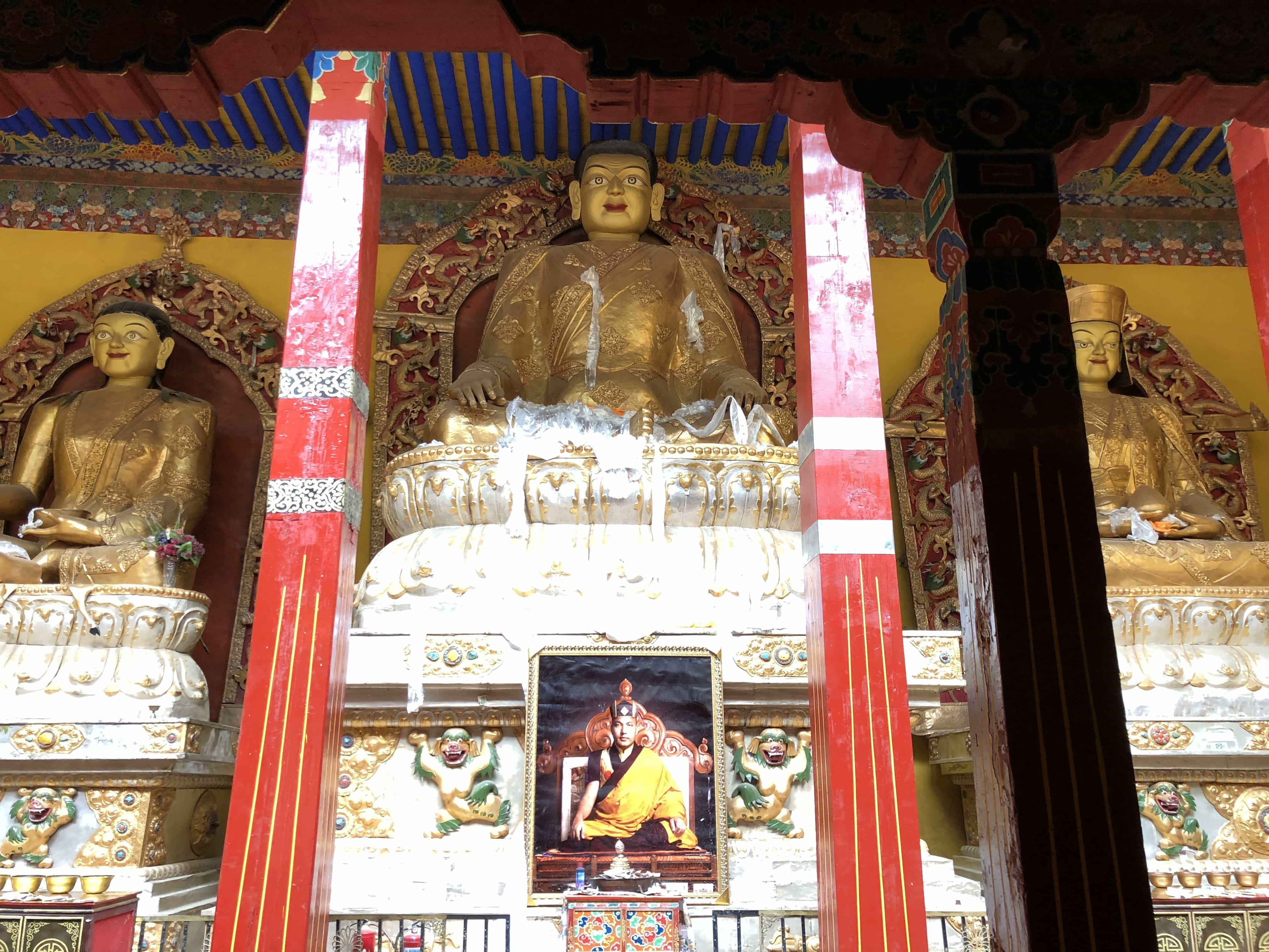 Statues of founders of Kagyu sect of Buddhism in Tsurpu