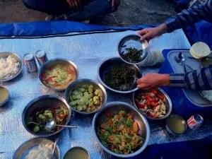Cooked dinner during the trek in Tibet