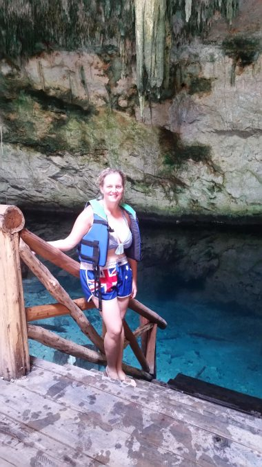The bottom of this limestone sinkhole sits somehwhere around 40m deep.