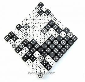 KOP13291 Soccer Dice D6 White and Black Opaque 18mm (23