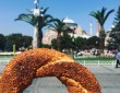 Simit street food in Istanbul in front of the Hagia Sophia