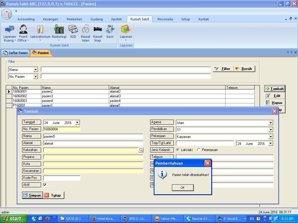 Tutorial Entri Transaksi IGD Rawat Inap Laboratorium