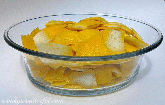 pieces of lemon peels in clear glass dish