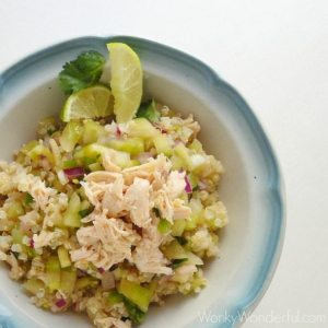 Healthy Chicken & Salsa Verde Quinoa Bowl ::: wonkywonderful.com