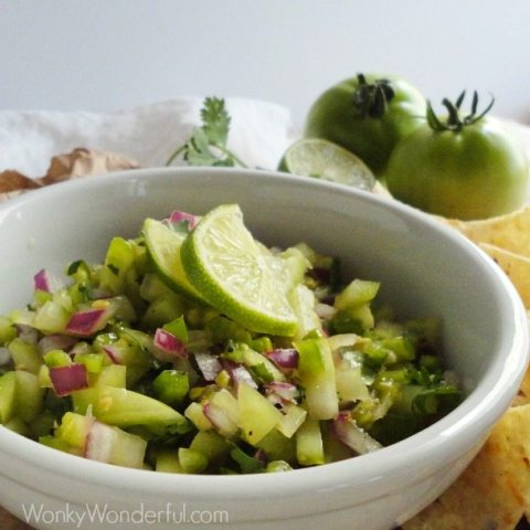 chunky green salsa in white bowl