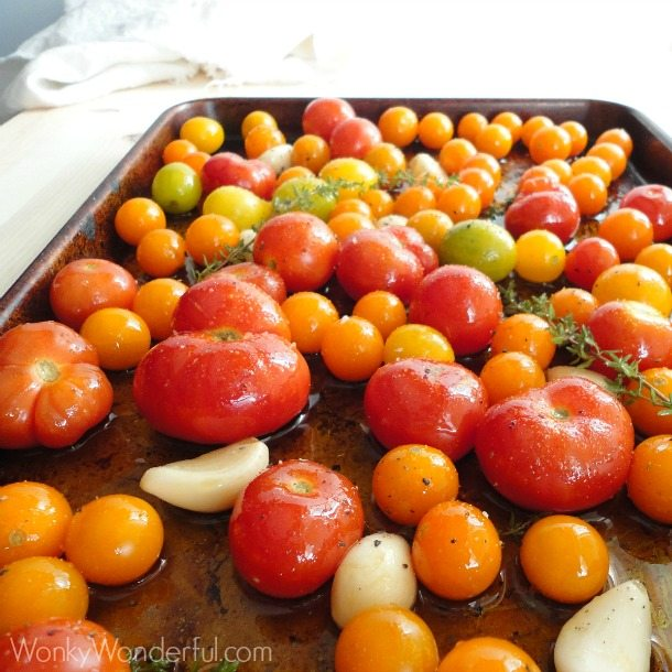 Garlic Thyme Roasted Tomatoes ::: wonkywonderful.com