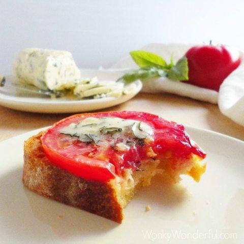 Tomato Crostini - Garlic/Basil Butter