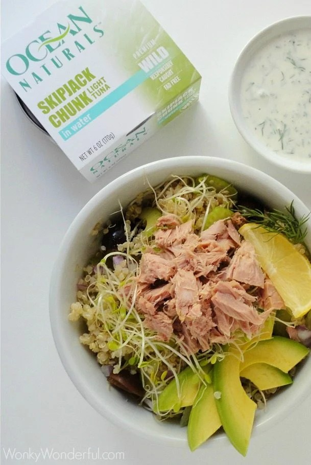 Gluten Free, No Mayo Tuna Salad Quinoa Recipe ::: wonkywonderful.com #OceanNaturals #glutenfree #shop