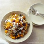 Gluten Free Vegetarian Pumpkin Quinoa Bowl - with cranberries, pecans and gorgonzola dressing ::: wonkywonderful.com ::: #glutenfree #vegetarian #veryvegetarian #quinoa #pumpkin