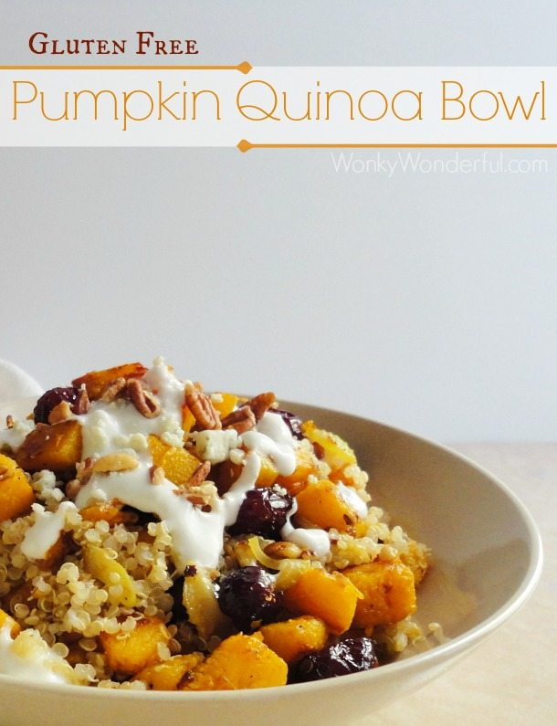 quinoa, pumpkin, pecan and cranberries in beige bowl, photo text: gluten free pumpkin quinoa bowl