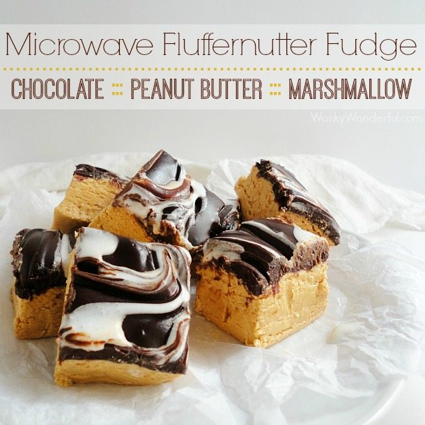 tan fudge squares with brown and white swirl top - text: microwave fluffernutter fudge