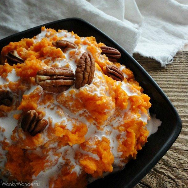 Mashed Sweet Potato Casserole Recipe - Mashed Sweet Potatoes with Marshmallow Drizzle - wonkywonderful.com #thanksgiving