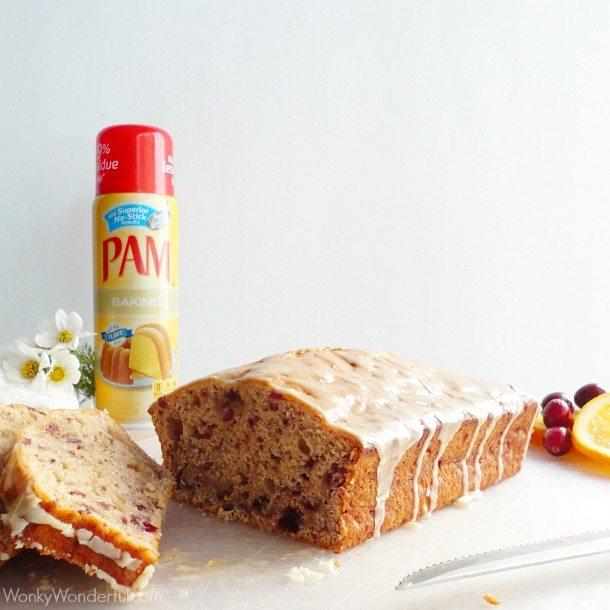 Orange Glazed Cranberry Bread Recipe - wonkywonderful.com - #PAMSmartTips
