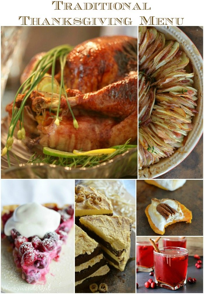 photo collage of thanksgiving foods - text: traditional thanksgiving menu