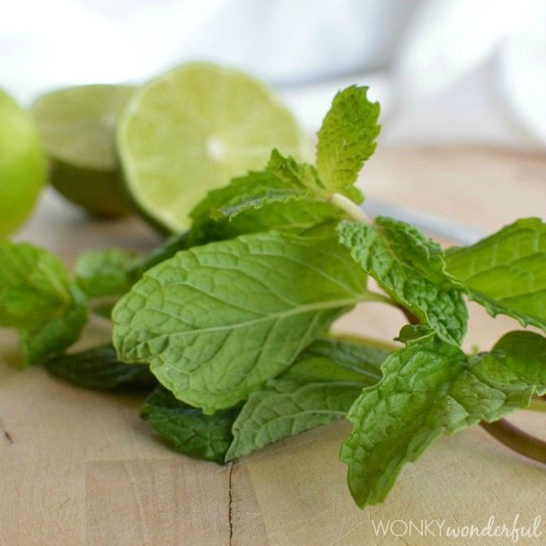 fresh green mint leaves and limes