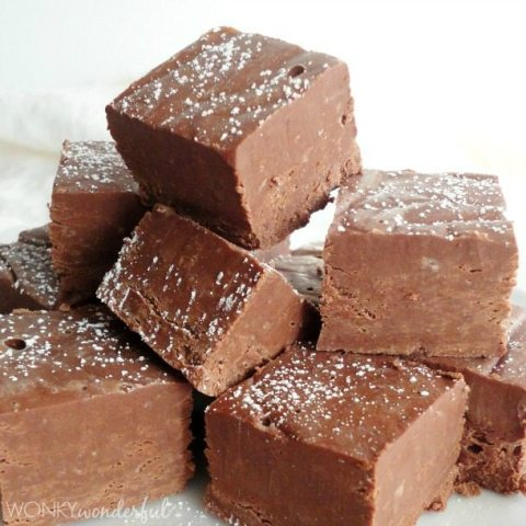 fudge squares stacked together