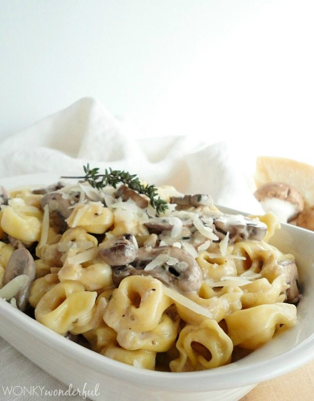Indulgent Cream Sauce Recipe with Mushrooms, Roasted Garlic and Thyme. Served over 3 Cheese Tortellini - wonkywonderful.com