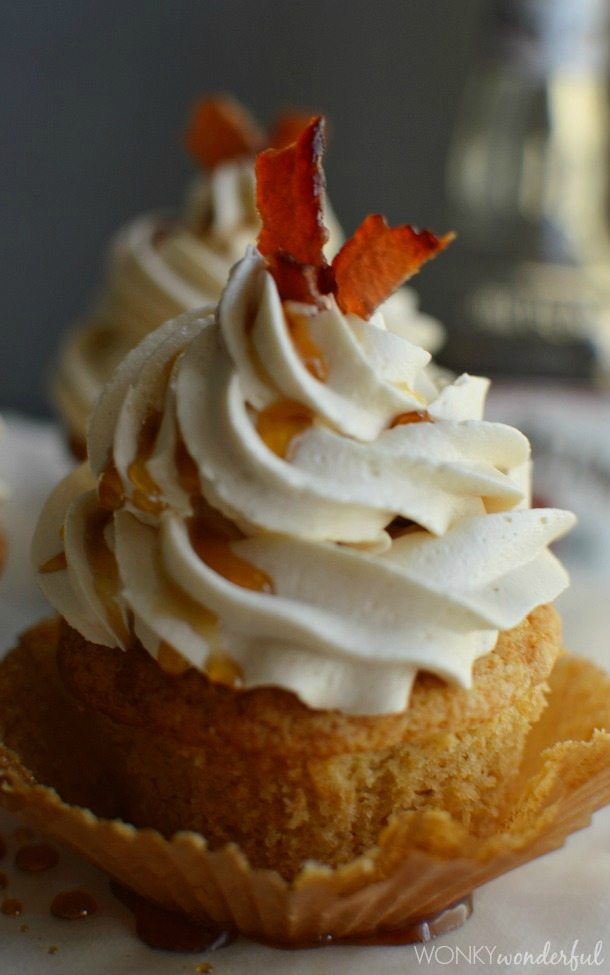 Bourbon Cupcakes with Maple Buttercream and Maple Bourbon Glazed Bacon