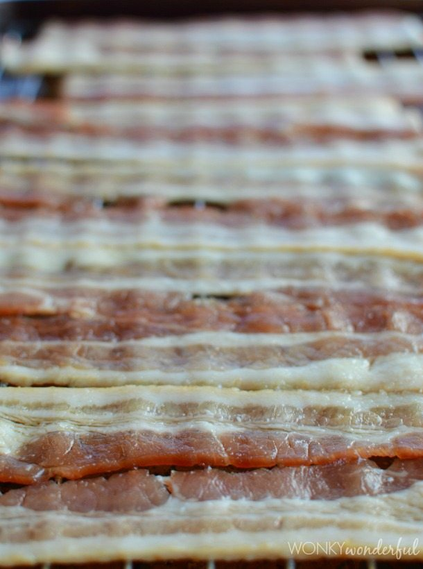 Maple and Bourbon Glazed Bacon Recipe - oven baked bacon - wonkywonderful.com