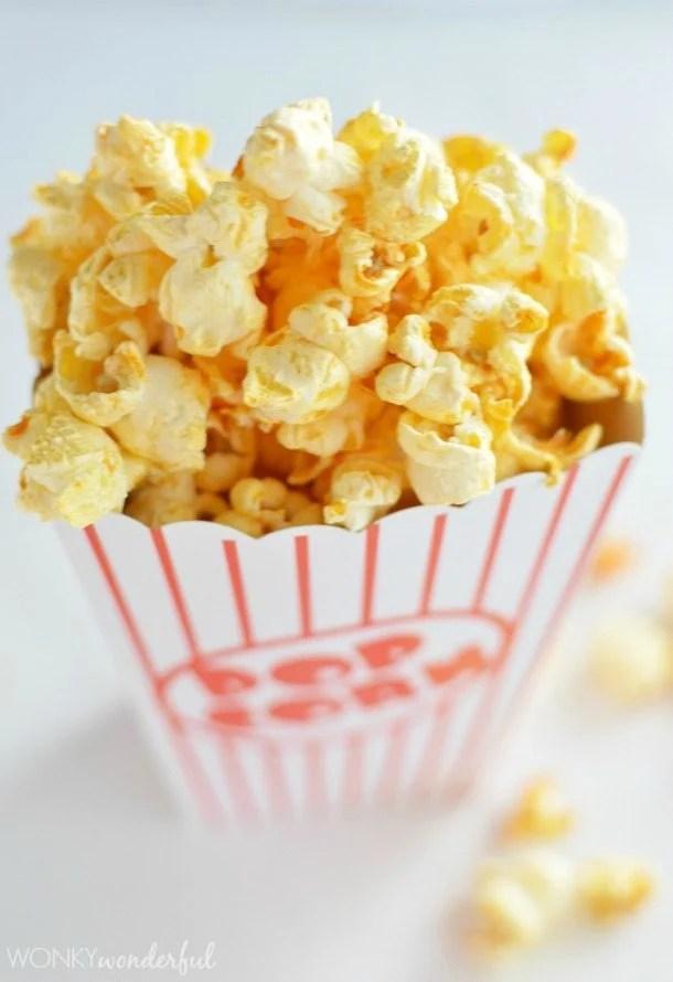 overhead view of buffalo popcorn in popcorn box