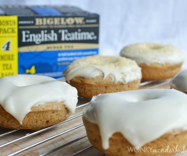 English Teatime Baked Donuts with Cream & Sugar Glaze - Perfect Tea Party Treat #AmericasTea - wonkywonderful.com