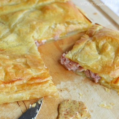 puff pastry filled with ham and cheese