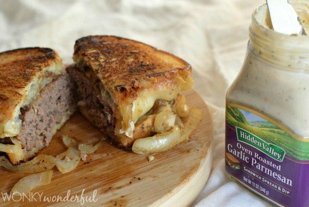 Patty Melt Recipe - Grilled Cheesy Burger Sandwich #HiddenValleyIt - wonkywonderful.com