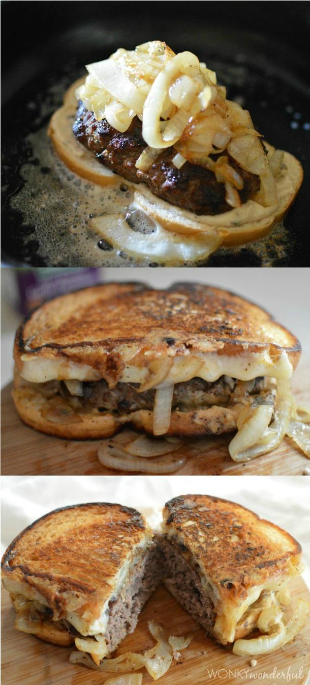 Patty Melt Recipe - Grilled Cheesy Burger Sandwich - wonkywonderful.com
