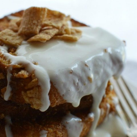 Cinnamon Toast Crunch French Toast with Cream Cheese Glaze! #breakfast #recipe wonkywonderful.com