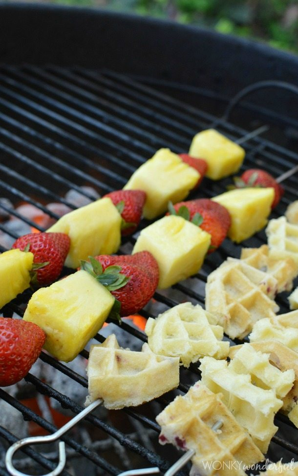 fruit and waffle skewers on bbq grill