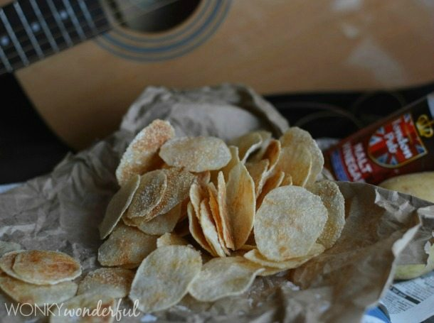 pile of potato chips on brown paper