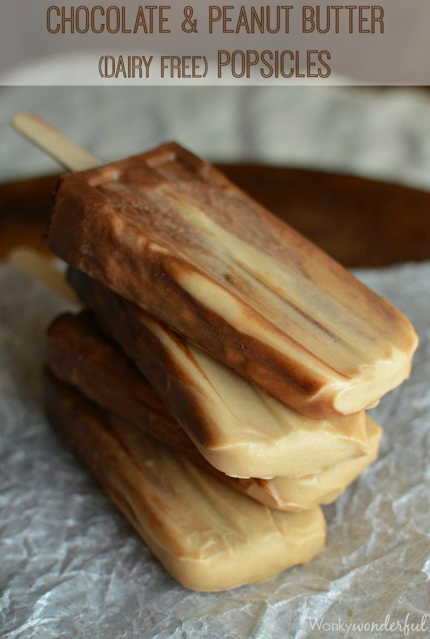 Chocolate Peanut Butter Dairy Free Popsicles : vegan dessert recipe : vegan pudding pops