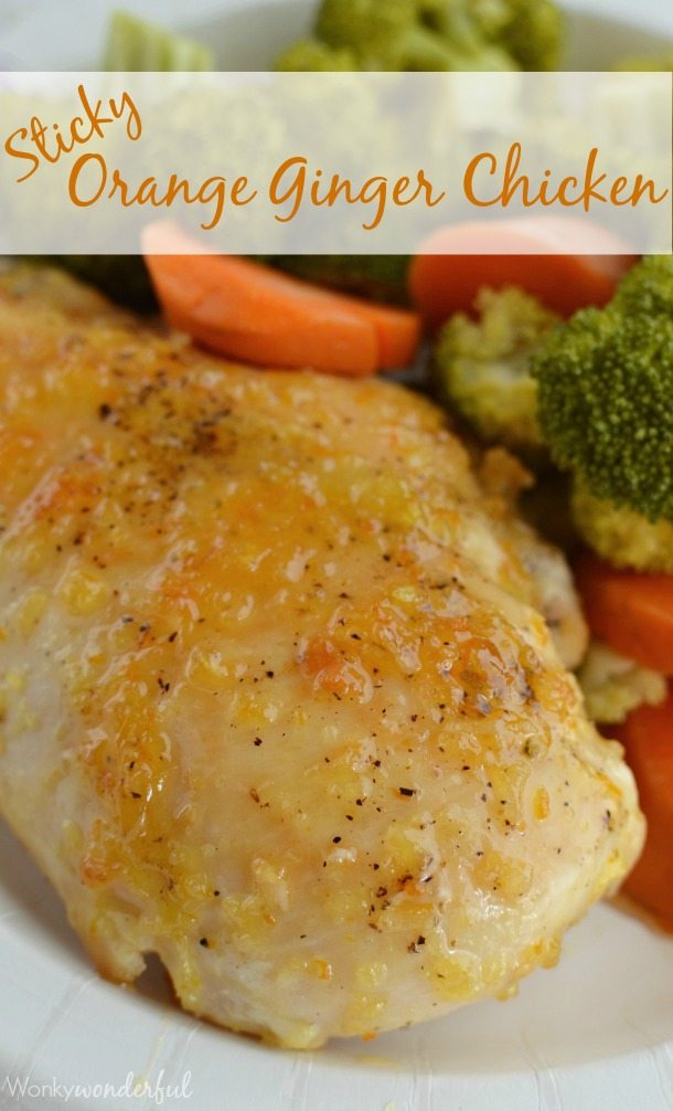 Sticky Orange Ginger Chicken Recipe : Healthy Chicken Dinner with Steamed Broccoli and Carrots