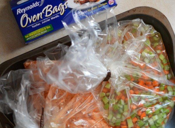 ingredients prepared in plastic oven bags