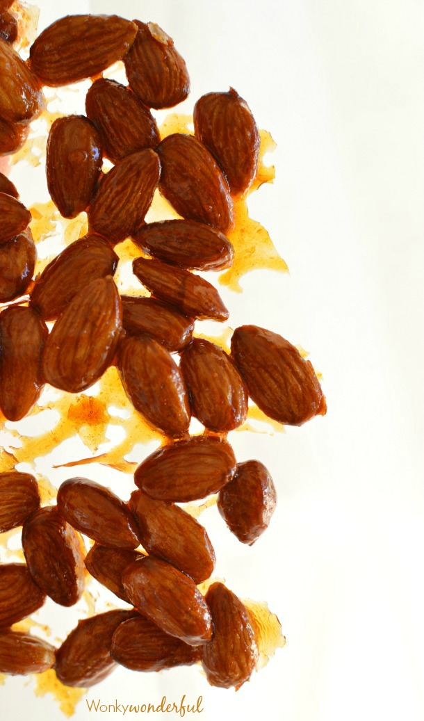 Sriracha Glazed Almonds - a sweet and spicy snack recipe. Perfect for game day!