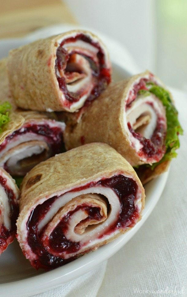 wheat tortilla, turkey and cranberry sauce rolled and cut into pinwheels