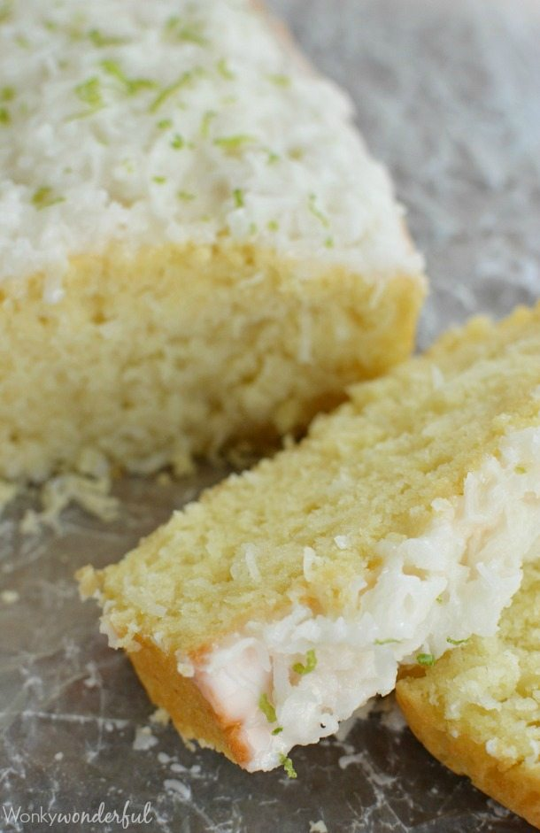 Coconut Bread with Lime Glaze - This quick bread recipe is easy, delicious and perfect for your holiday baking!