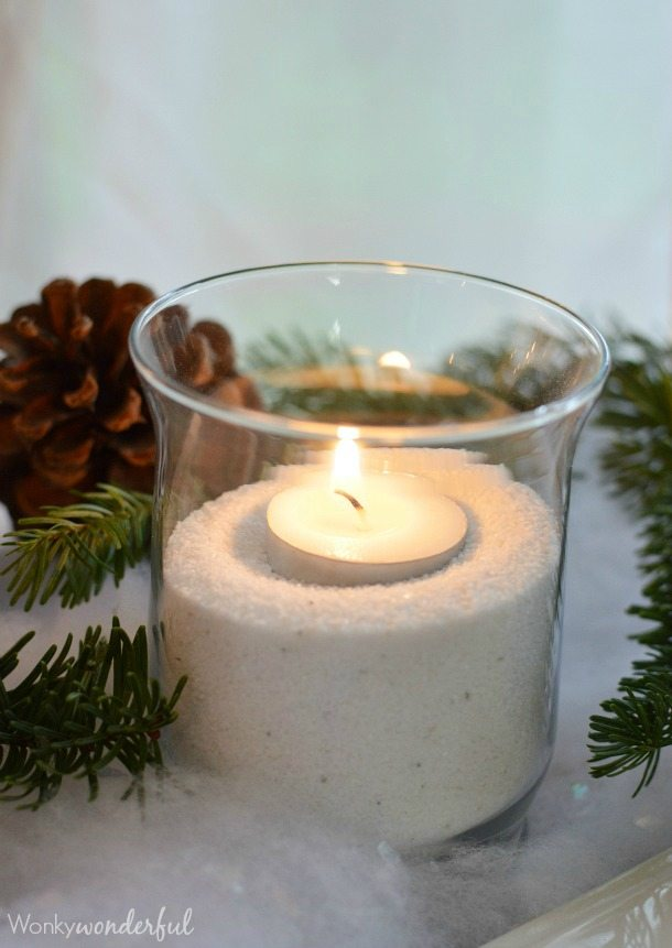 3 Easy Dip Recipes and Winter Table Decor with Pinecones, Candles and Burlap.