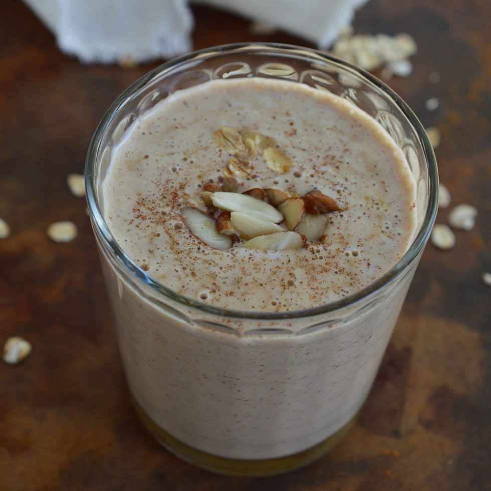 Almond Milk Smoothie - a healthy and satisfying breakfast made with almond butter, almond milk, banana, maple syrup and oats.
