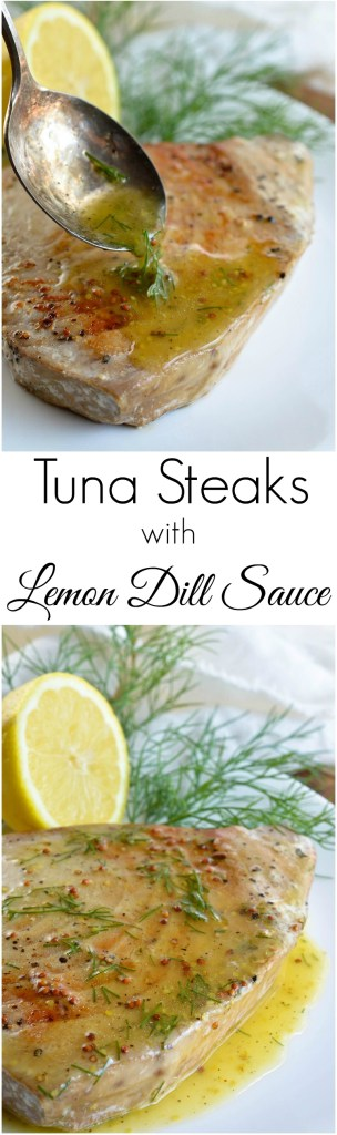 Pan Seared Tuna Steak with Lemon Dill Sauce makes a flavorful and healthy meal. This nutritious Paleo lunch or dinner is full of protein and ready in about 10 minutes! #paleo #paleorecipes