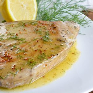 Pan Seared Tuna Steak with Lemon Dill Sauce (Paleo)
