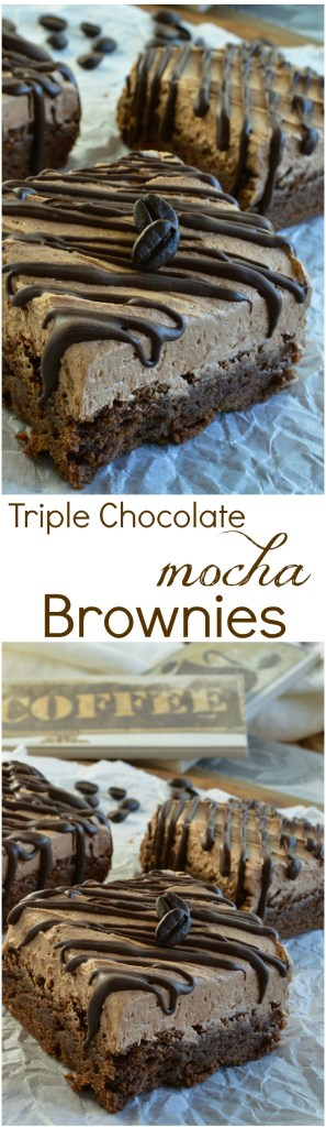 Triple Chocolate Mocha Brownies are the perfect chocolate dessert! Fudgy chocolate brownies spiked with espresso powder then topped with mocha chocolate buttercream frosting and dark chocolate drizzle! Great for anyone that loves chocolate and coffee!