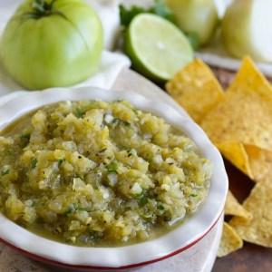 Grilled Green Tomato Salsa Recipe (Whole30, Paleo, Vegan)