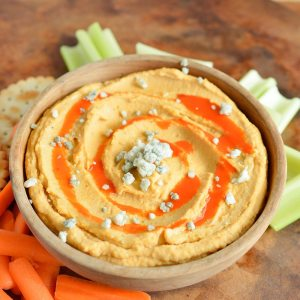This Spicy Buffalo Hummus Recipe is a great healthy game day appetizer!